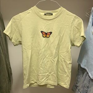 pastel green butterfly brandy melville top